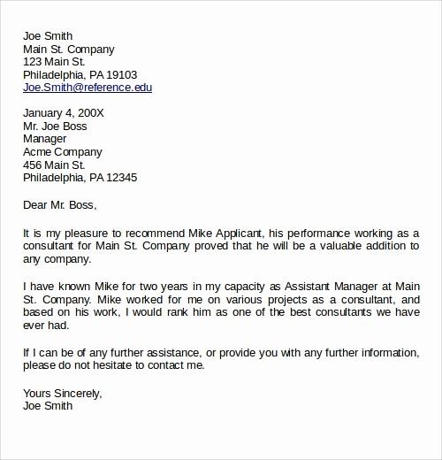 Sample Reference Letter for Employee Lovely 27 Letter Of Re Mendation In Word Samples