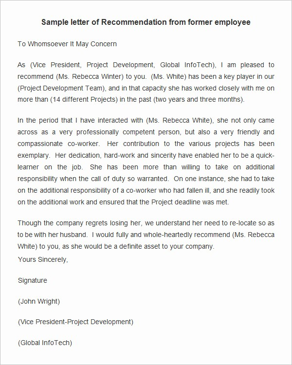 Sample Reference Letter for Employee Luxury 18 Employee Re Mendation Letters Pdf Doc
