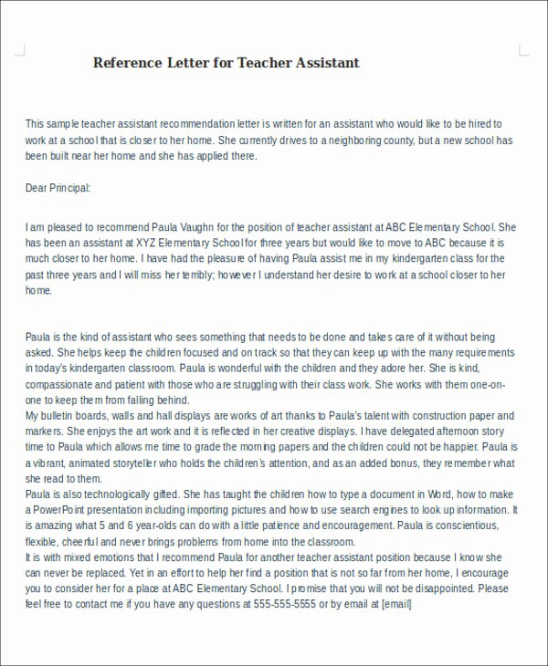 Sample Reference Letters for Teachers Awesome 6 Sample Reference Letter for Teachers