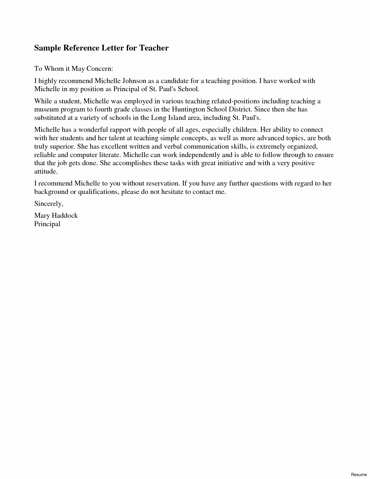 Sample Reference Letters for Teachers Awesome Letter Re Mendation Example for Teaching Position