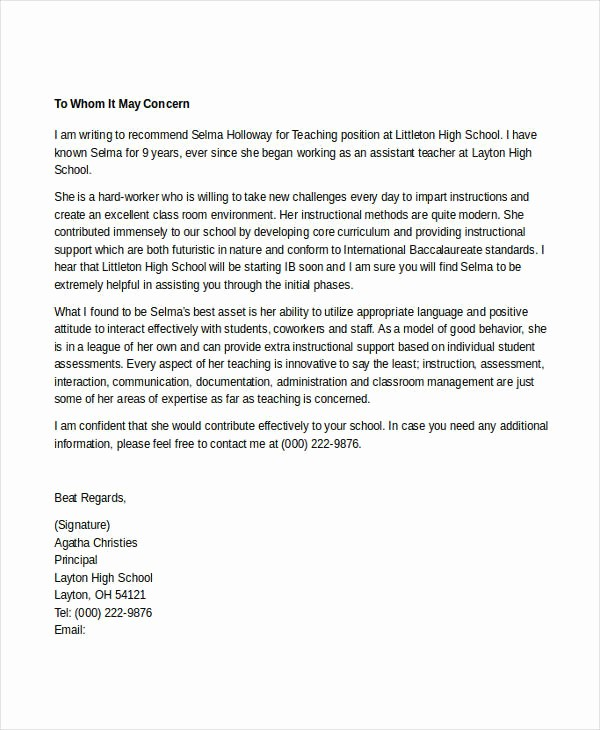 Sample Reference Letters for Teachers Beautiful 7 Teacher Reference Letters Free Samples Examples