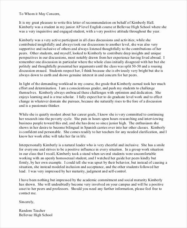 Sample Reference Letters for Teachers Elegant 7 Sample Teacher Re Mendation Letters