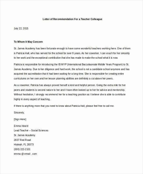 Sample Reference Letters for Teachers Fresh Sample Teacher Letters Of Re Mendation 6 Free