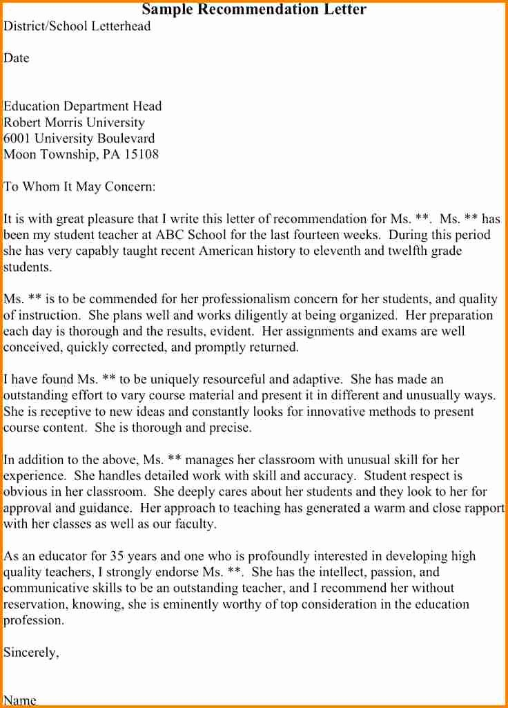 Sample Reference Letters for Teachers Inspirational 5 Sample Reference Letter for Student From Teacher