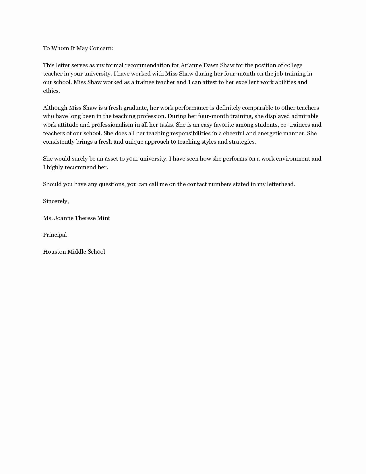 Sample Reference Letters for Teachers Inspirational Sample Teacher Re Mendation Letter
