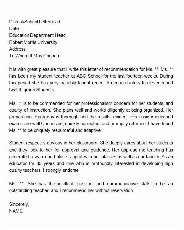 Sample Reference Letters for Teachers Luxury 18 Letter Of Re Mendation for Teacher Samples – Pdf