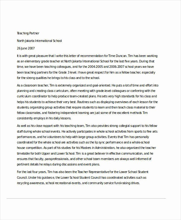 Sample Reference Letters for Teachers New 32 Sample Re Mendation Letter Templates