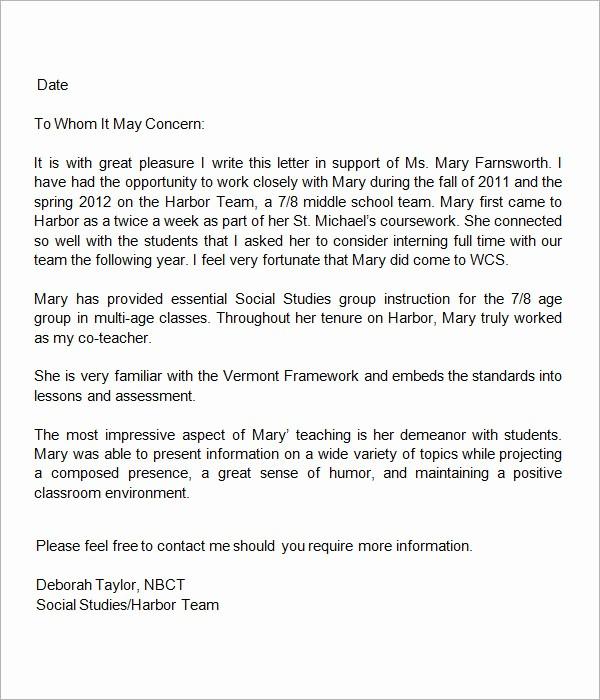 Sample Reference Letters for Teachers New Sample Letters Of Re Mendation for Teacher 12