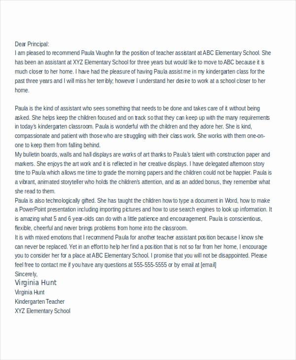 Sample Reference Letters for Teachers Unique 32 Sample Re Mendation Letter Templates