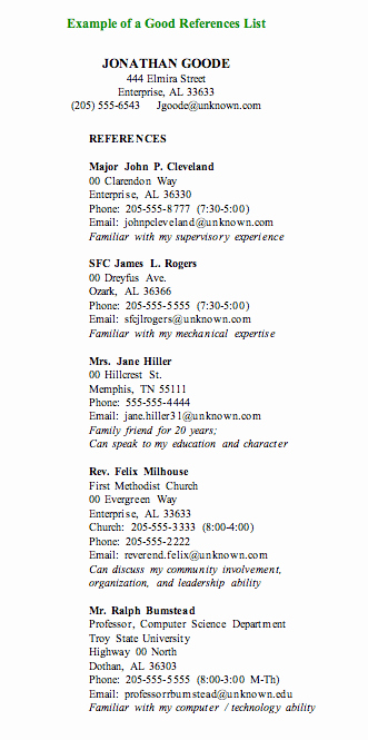 Sample Reference List for Job Awesome Reference Page for Resume