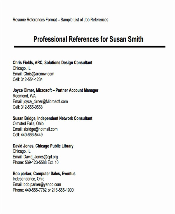 Sample Reference List for Job Elegant 74 Resume formats Pdf Doc