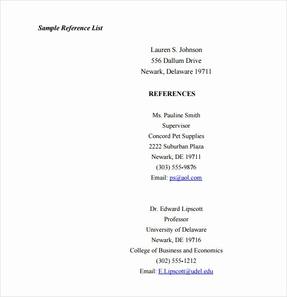 Sample Reference List for Job Inspirational Resume format Download Search Results