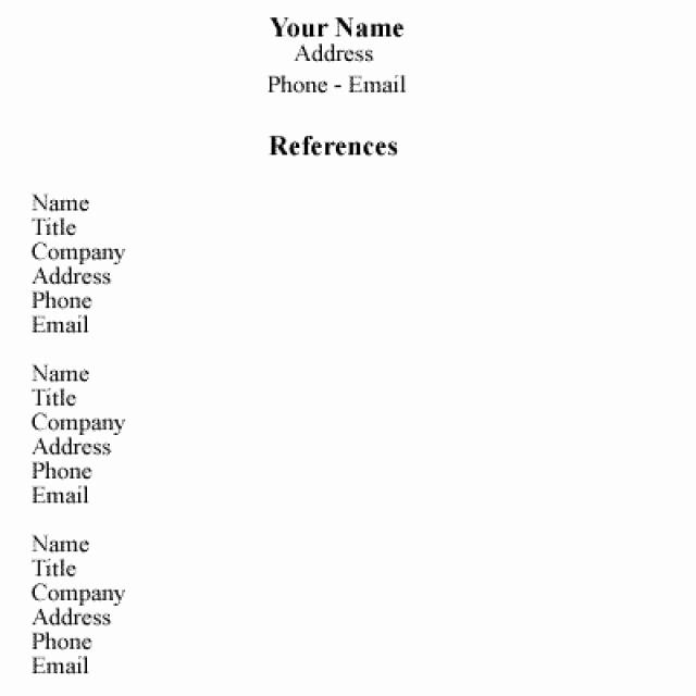 Sample Reference List for Job Inspirational Sample Reference List for Employment