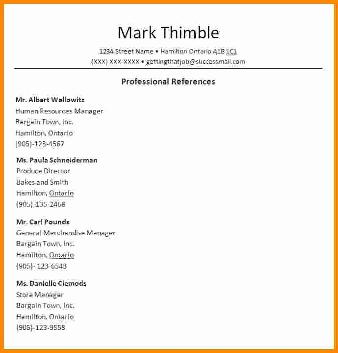Sample Reference List for Job Luxury 3 Job Reference Template