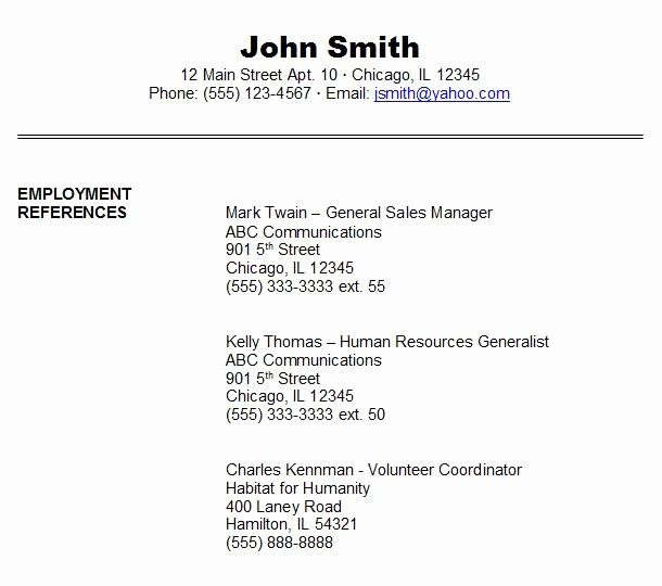 Sample Reference List for Jobs Awesome Job Reference Example