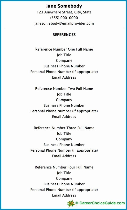 Sample Reference List for Jobs Awesome Resume Reference Page Setup Job Hunting