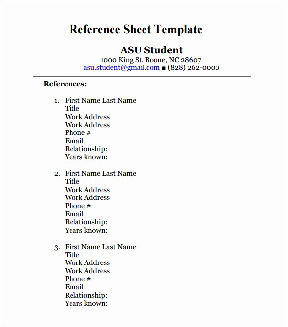 Sample Reference List for Jobs Unique 12 Sample Reference Sheet Templates to Download