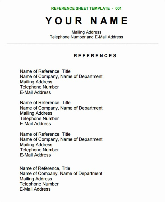 Sample Reference Sheet for Resume Awesome 12 Sample Reference Sheets