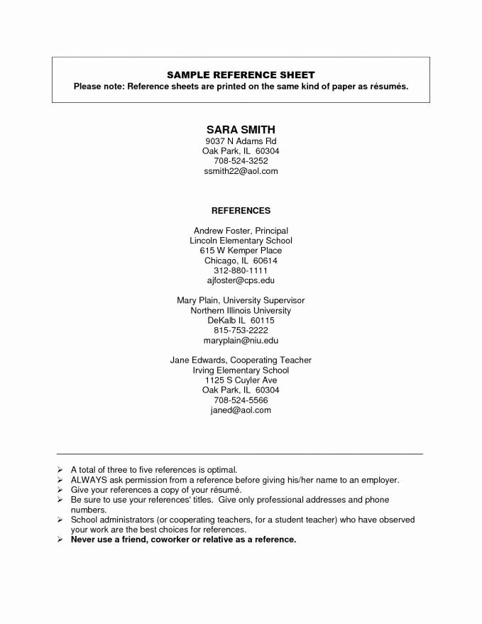 Sample Reference Sheet for Resume Elegant How to List References Resume
