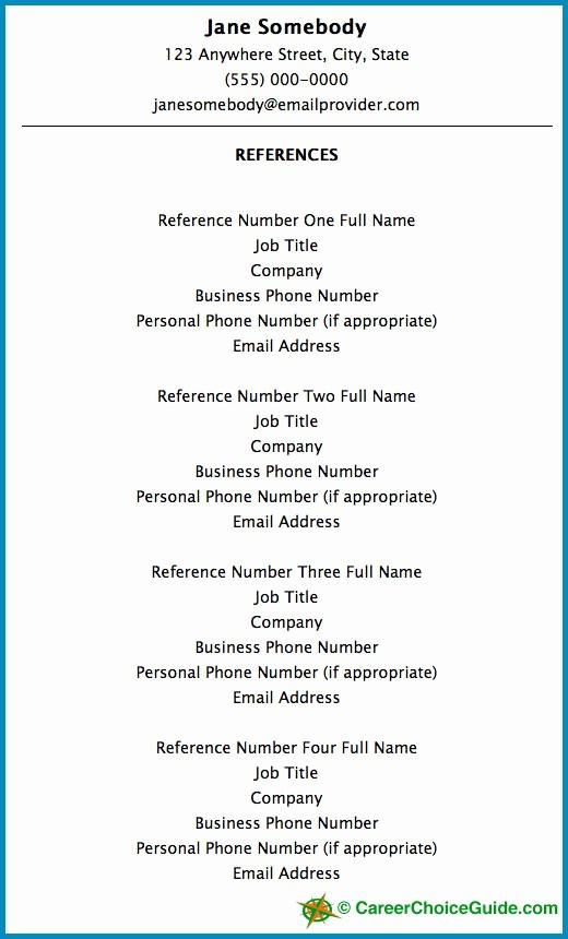 Sample Reference Sheet for Resume Elegant Resume Reference Page Setup