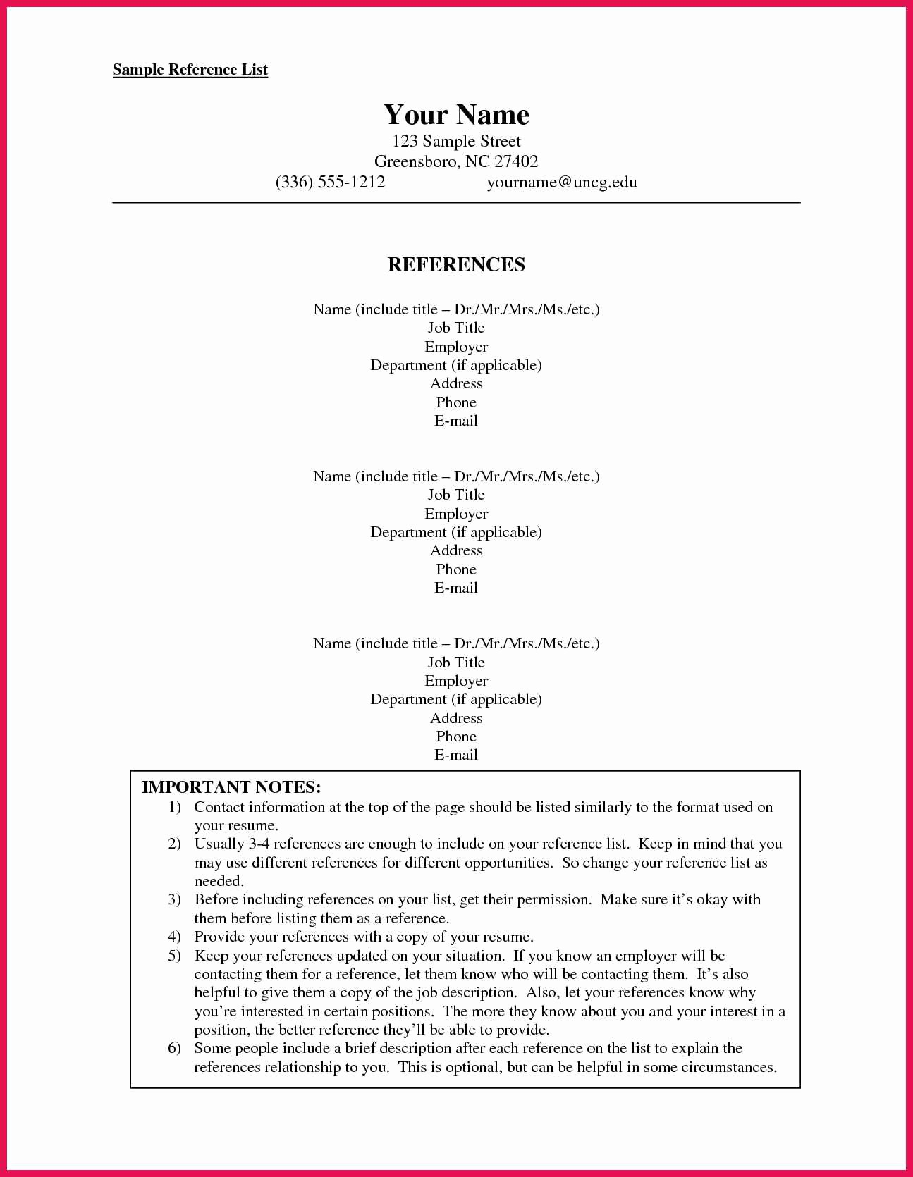 Sample Reference Sheet for Resume Fresh How to format A Reference List