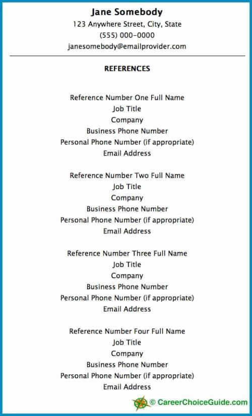 Sample Reference Sheet for Resume Fresh Resume Reference Page Setup