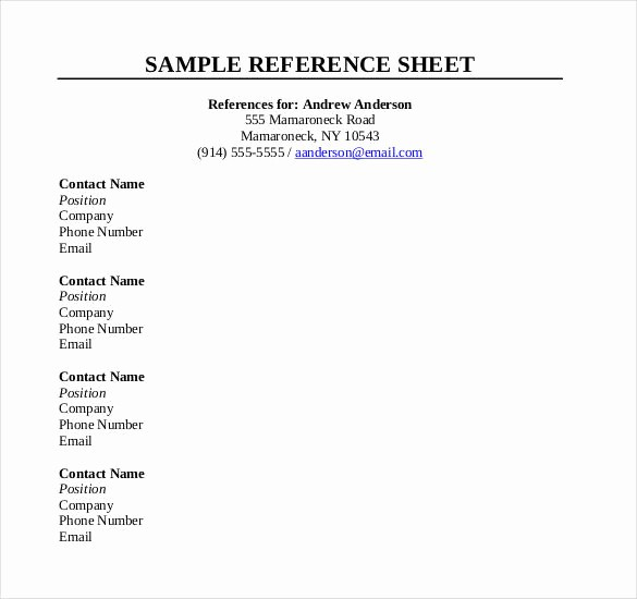 Sample Reference Sheet for Resume Inspirational Reference Sheet Template 30 Free Word Pdf Documents