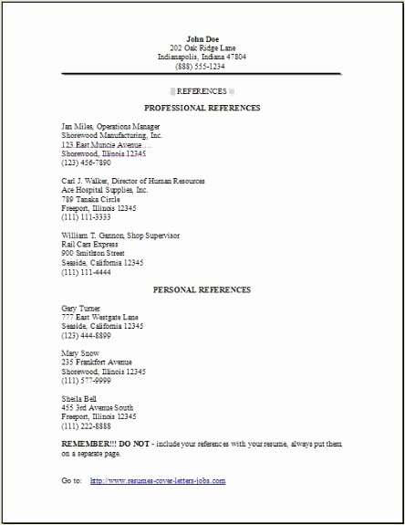 Sample Reference Sheet for Resume Unique Resume Reference Page Occupational Examples Samples Free