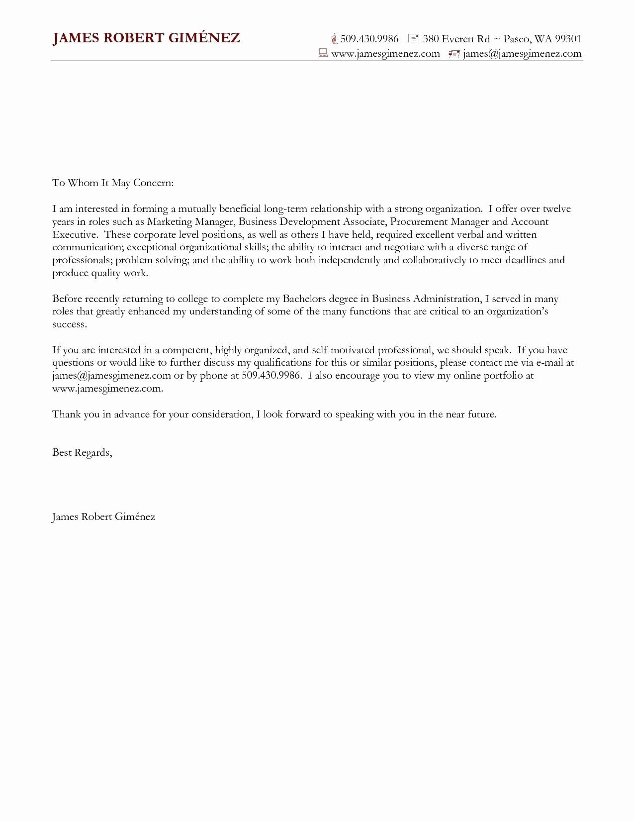 Sample Resume and Cover Letter Best Of Mock Cover Letter