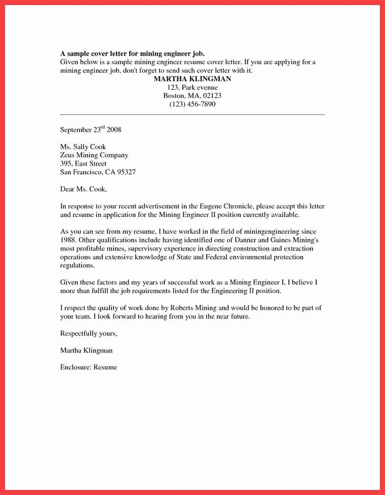 Sample Resume and Cover Letter Fresh formal Cover Letter Sample