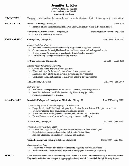 Sample Resume for College Graduate Best Of Pinterest
