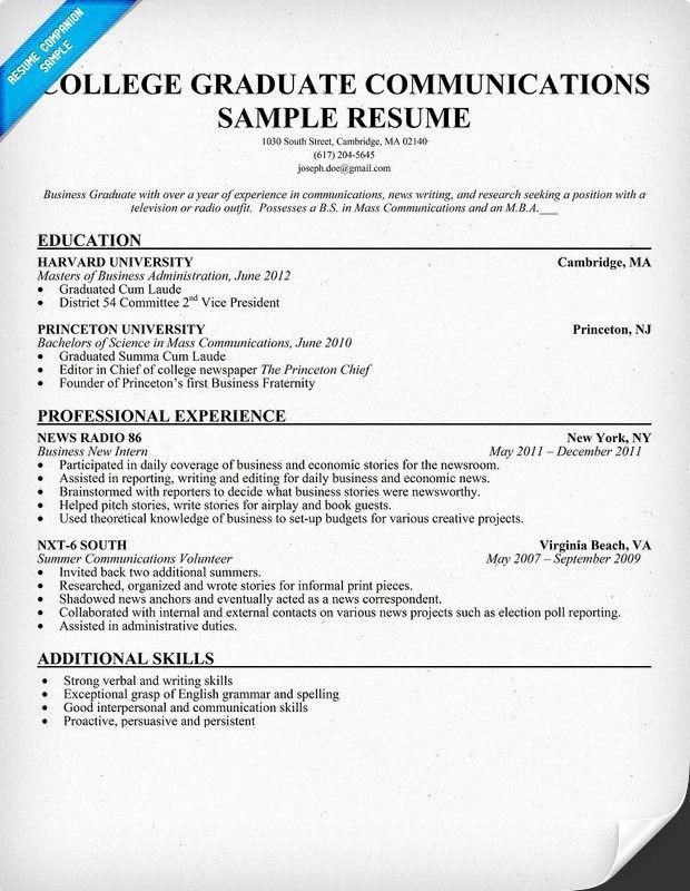Sample Resume for College Graduate Inspirational Resume Sample for College Graduate