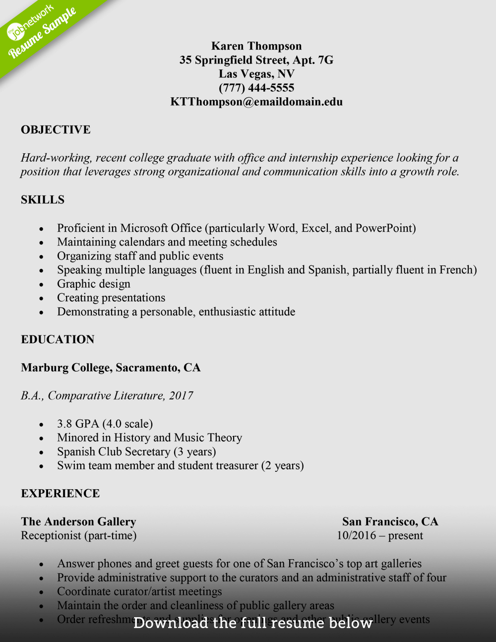 Sample Resume for College Graduate New How to Write A College Student Resume with Examples