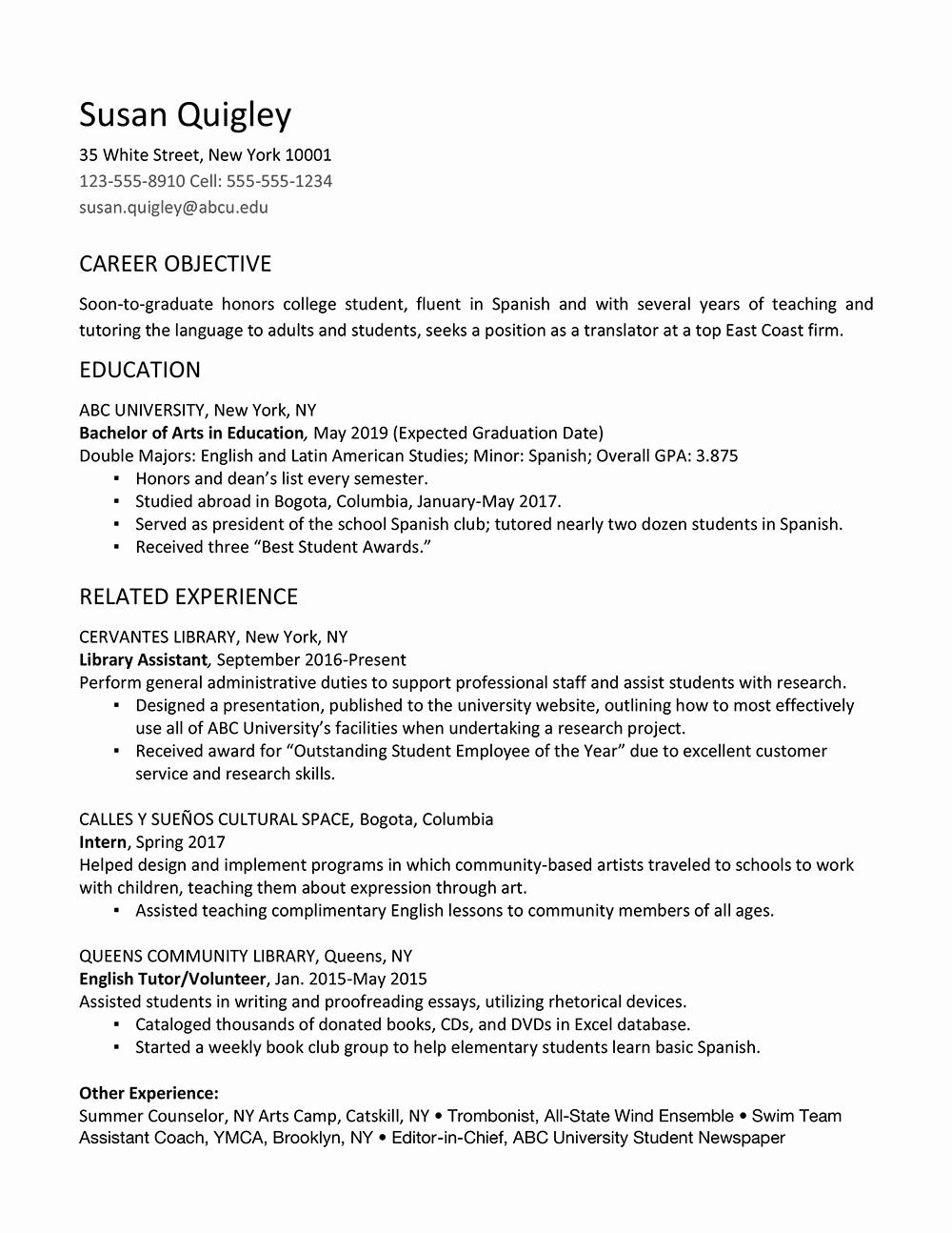 Sample Resume for College Graduate New Job Resume for Fresh Graduate College