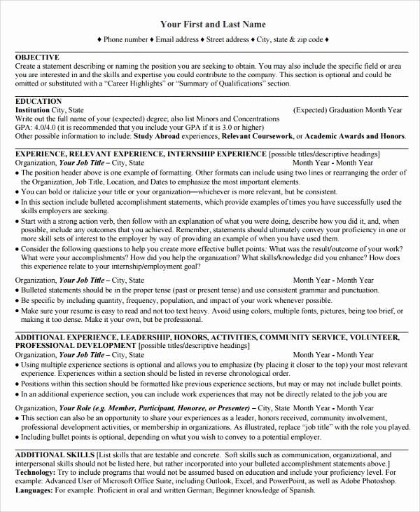 Sample Resume for College Graduate Unique 9 College Graduate Resumes