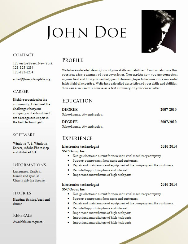 Sample Resume In Word format Awesome Free Resume Templates 695 – 701 – Free Cv Template Dot org