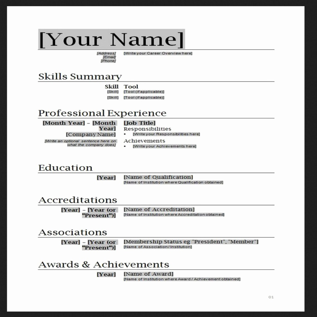 Sample Resume In Word format Awesome Free Resume Templates Word
