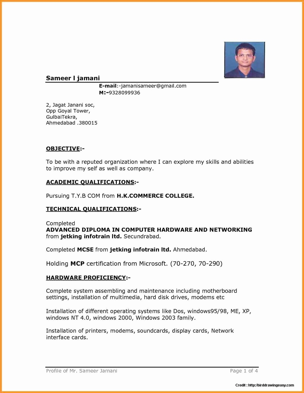 Sample Resume In Word format Fresh Sample Resume Free Download In Word format Resume
