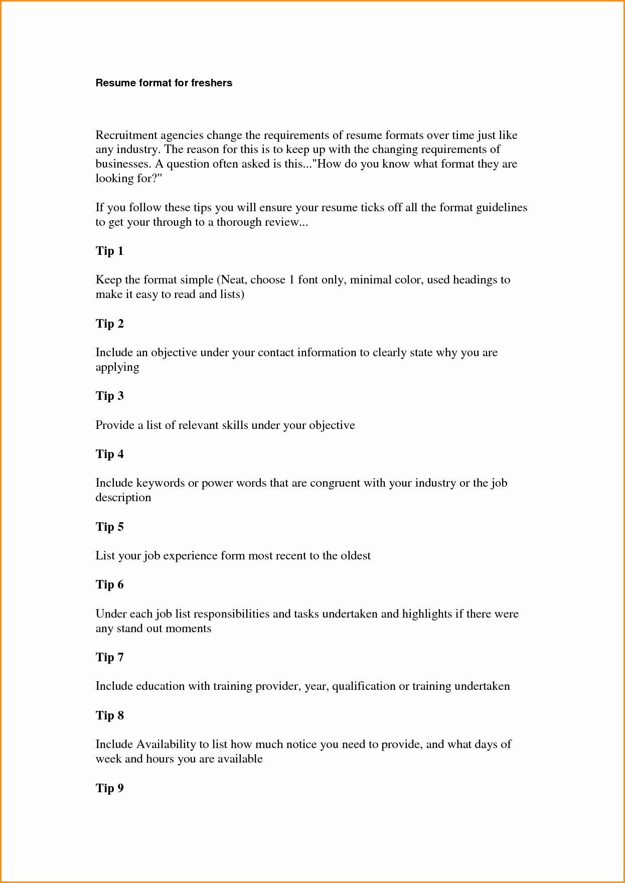 Sample Resume In Word format Inspirational 11 Freshers Resume Samples In Word format