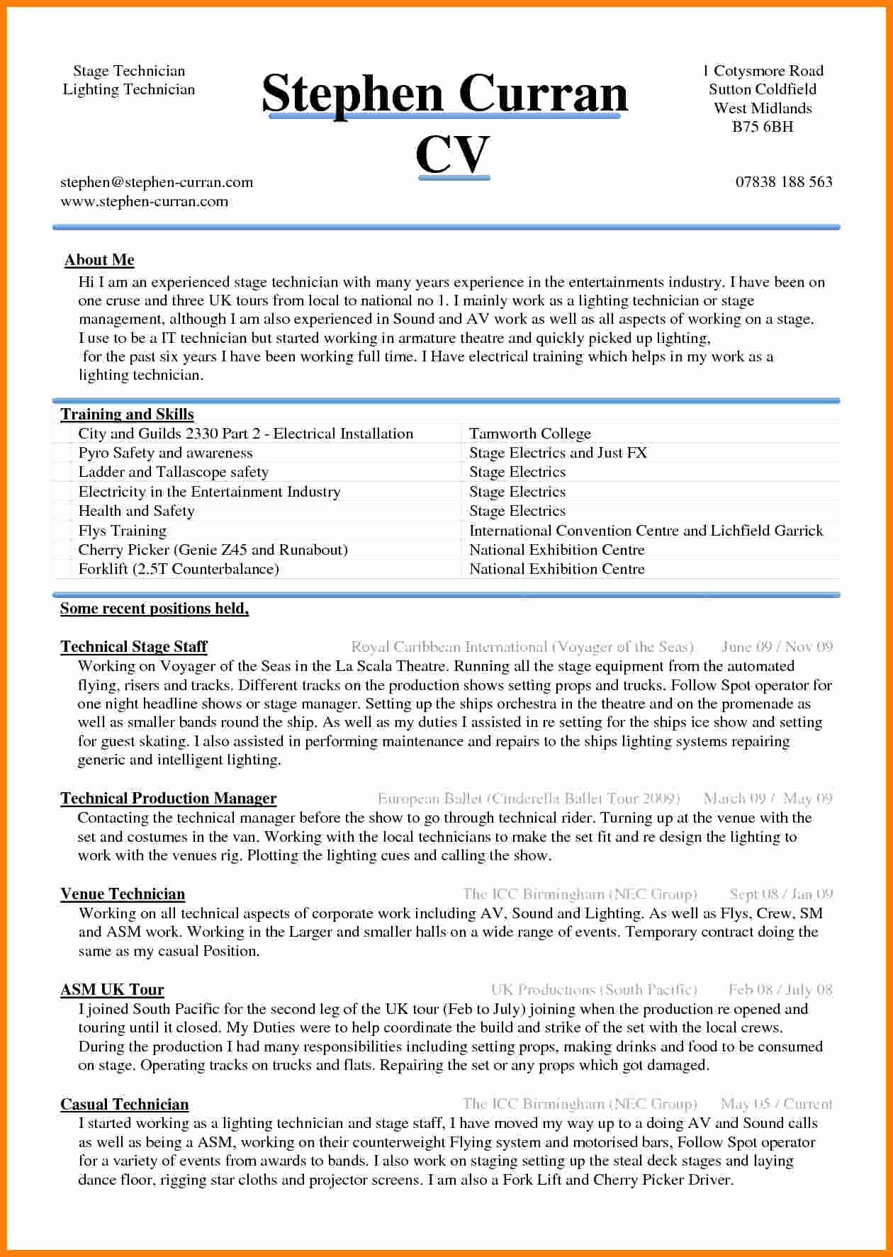 Sample Resume In Word format Luxury 5 Cv Sample Word Document