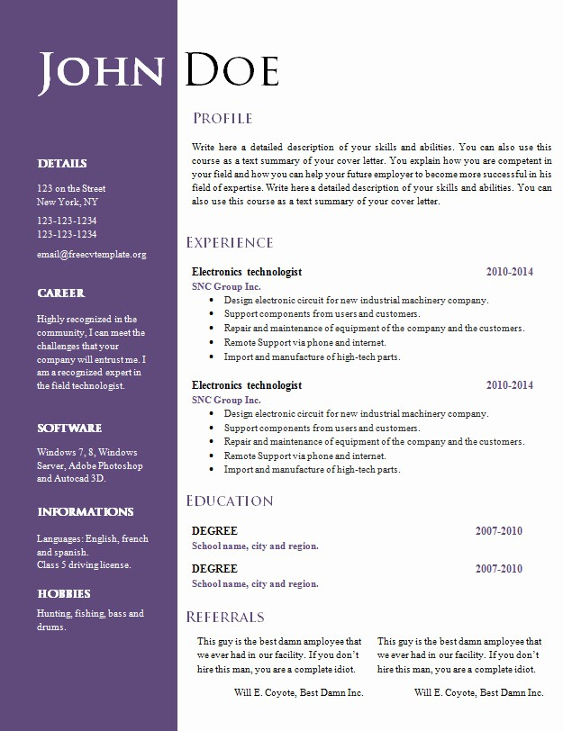 Sample Resume In Word format New Free Creative Resume Cv Template 547 to 553 – Free Cv
