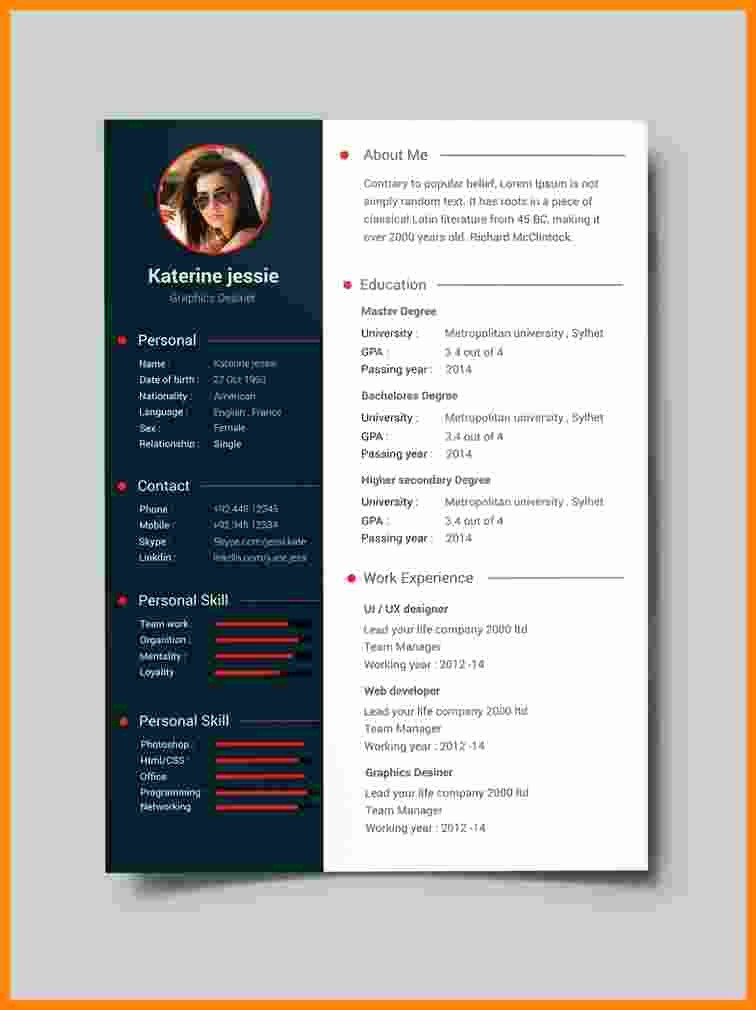 Sample Resume Templates Free Download Elegant 10 Cv format Template Pdf