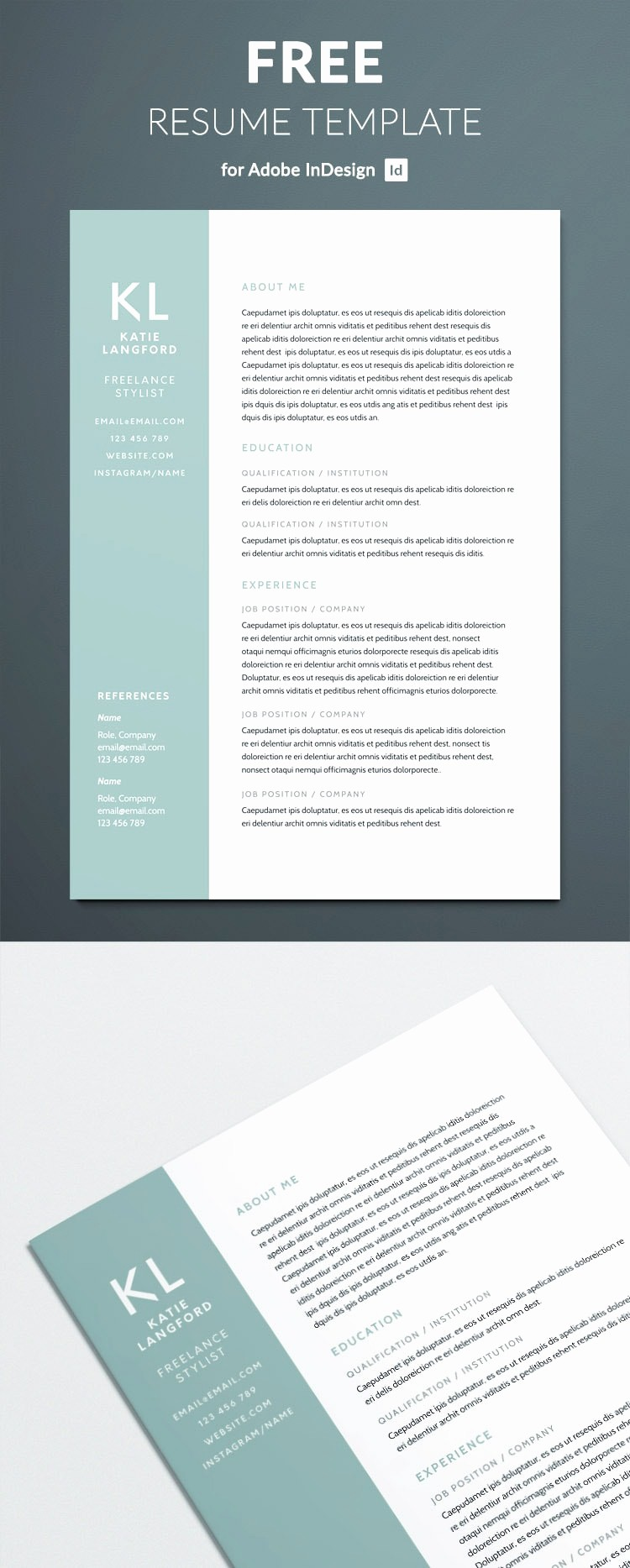 Sample Resume Templates Free Download Fresh Modern Resume Template for Indesign