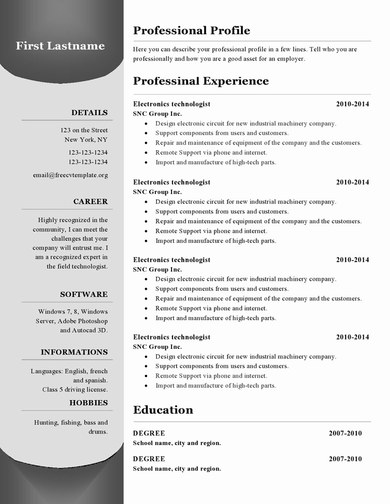 Sample Resume Templates Free Download Lovely Resume Templates 380 to 385 – Free Cv Template Dot org