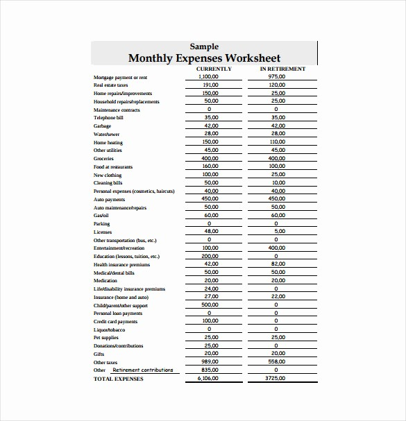Sample Spreadsheet for Monthly Expenses Inspirational 11 Expense Sheet Templates – Free Sample Example format