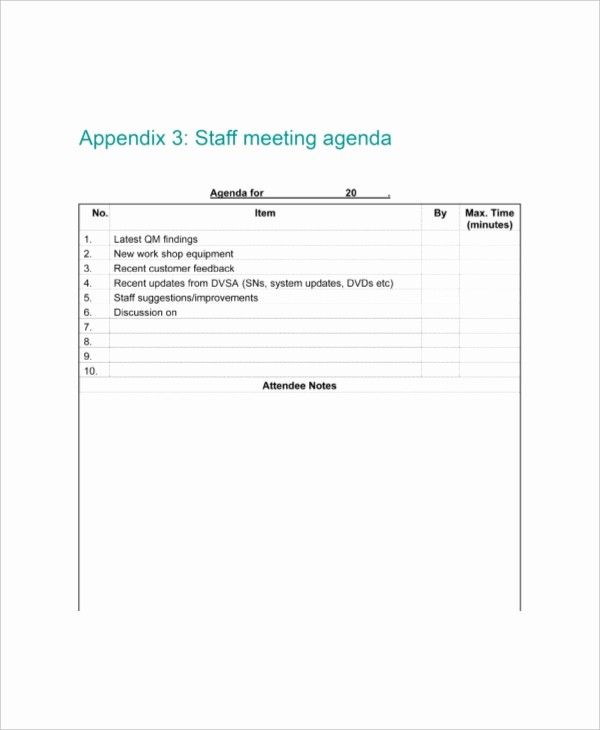 Sample Staff Meeting Agenda Template Best Of 9 Staff Meeting Agenda Templates – Free Sample Example