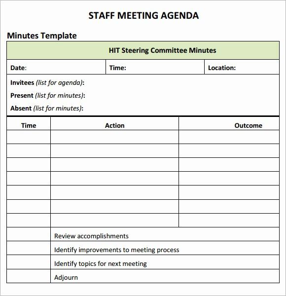 Sample Staff Meeting Agenda Template Best Of Staff Meeting Agenda 7 Free Download for Pdf