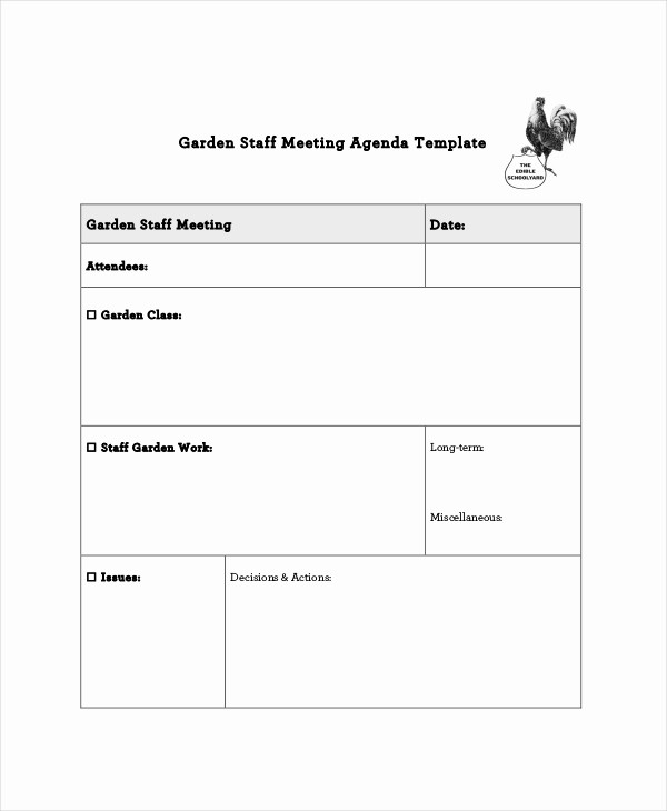 Sample Staff Meeting Agenda Template Elegant Staff Meeting Agenda Template – 10 Free Word Pdf