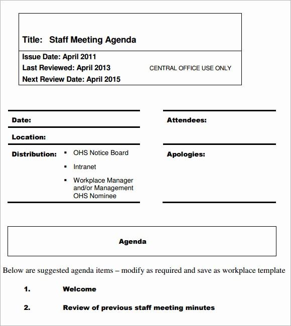 Sample Staff Meeting Agenda Template Inspirational 5 Staff Meeting Agenda Samples