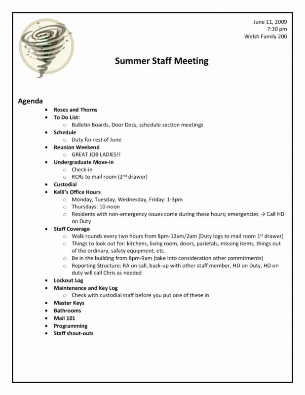 Sample Staff Meeting Agenda Template Inspirational Meeting Agenda Template Doc